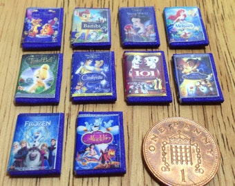 Dolls house handmade miniature replica set of 10 girls disney dvd classics 1/12 scale