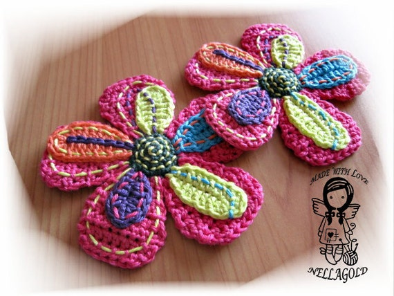 Crochet PATTERN Applique Big Flower DIY Pattern 12 Instant