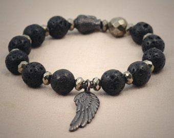 Tribal stretch bracelet, lava stone, pyrite, black buddha head and angel wing