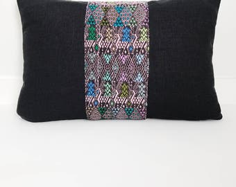 Linen and Guatemalan Pillow Cover, Ethnic, Handwoven, Black, Boho Pillow