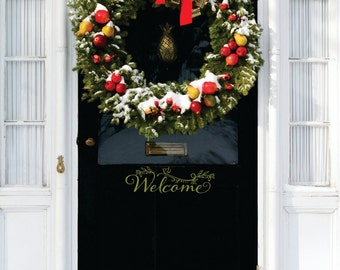 Welcome Door Decal - Small Decal - Welcome Bird Door Decal - Welcome Vinyl Lettering for Door - Front Door Decals