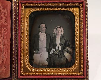 RESERVED - Do Not Buy - Daguerreotype of a Fashionable Couple, 19th Century Antique Photo in Full Leather Case