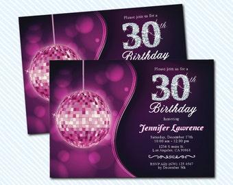 Digital Printable Adult Birthday Invitation. Women birthday invitation. Glitter invitation. 50th birthday. 30th birthday. disco birthday