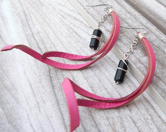 Pink Leather and Obsidian Duster Earrings - Statement Earrings