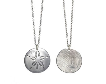 Sand Dollar Necklace. Etched Coin. Sand dollar charm. Brazil charm. Brazil necklace. Brasil necklace. Brazilian necklace.