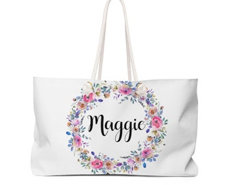 Blush And Violet Weekender Bag With Personalized Name