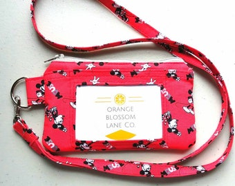 Handmade Disney inspired Mickey and Minnie ID wallet with zip pouch and lanyard strap.