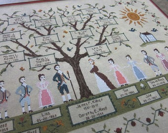 INSTANT DOWNLOAD My Family Tree PDF counted cross stitch patterns by Willow Hill Samplings at cottageneedle.com colonial customizable