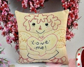 Lil bit of Love PDF embroidery Pattern - primitive raggedy ann stitchery quilt wallhanging decor letters posies flowers Valentine