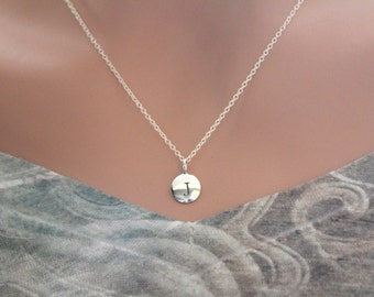 Sterling Silver Simple J Initial Necklace, Silver Stamped J Necklace, Stamped J Initial Necklace, Small J Initial Necklace, J Initial Charm