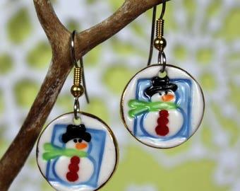 Snowman Dangle Earrings Handmade Porcelain Ceramic Jewelry Christmas