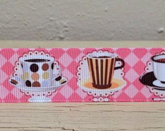 """Coffee Cup Grosgrain 1"""" Printed Ribbon"""