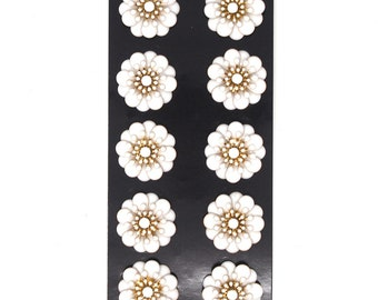 Acrylic Springtime Floral Embellishments, White/Gold, 1.1-Inch, 10-Count