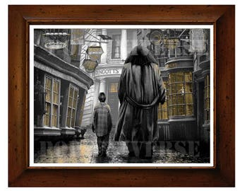 Harry Potter Digital Art Print  -  Harry and Hagrid in Diagon Alley, Harry Potter art, Harry Potter print, Harry Potter poster,