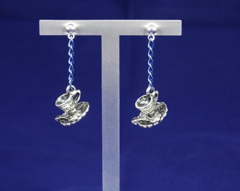 Blue and Silver Cup & Saucer Earrings