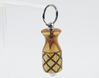 Key chain chrome Lux country wooden