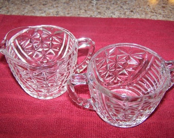 Clear Pressed Glass  Sugar and Creamer Set --   Mid Century