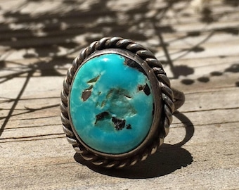 Sterling Silver Turquoise Ring   Vintage Turquoise Ring   Festival Fashion   Bohemian Jewelry   Boho Rings   Blue Turquoise Ring Gifts