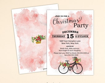Christmas Cocktail Party Invitation, Holiday Party, Christmas Party, Open House, Holiday Birthday Party, C13016