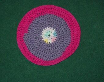 Round Washcloth Dishcloth Purple Pink Crochet Washcloth Dishcloth Multi Colored Dishcloth
