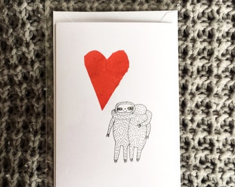 Hugging sloths card