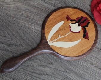 Iris Hand Mirror, Wood Hand Mirror,  Flower Black Walnut Hand Held Mirror wood Handmade  Made in USA