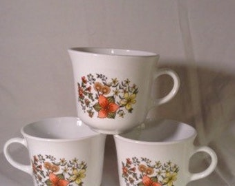 "3 Vintage 1970's Corelle ""Indian Summer"" floral cups"