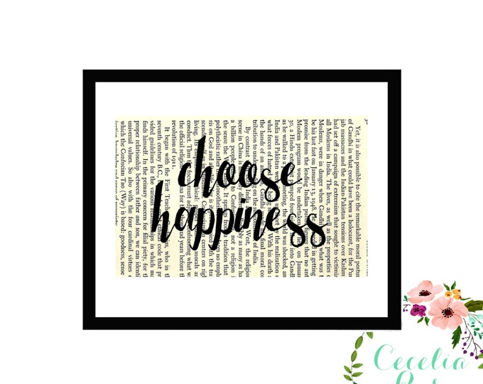 Choose Happiness Inspirational Upcycled Vintage Book Page Art Box Frame or PrintFarmhouse Style Farmhouse Style
