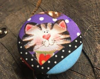 Name badge fabric covered badge reels tabby kitty design nurse name badge animated purple