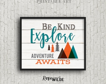 BE KIND, Explore Adventure Awaits, Digital Download, Modern Rustic Boys Woodland Tribal Nursery Art Decor, Teal Orange Brown, Trending