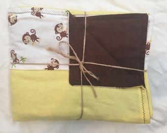 Monkey Baby Blanket Flannel Brown Yellow Gender Neutral