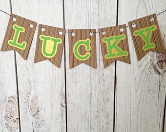Lucky Banner, St Patricks Day Banner, Shamrock Banner, St Patricks Banner, St Patricks Garland, Irish Decor, Shamrock Garland