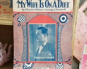 Vintage Sheet Music 1929 My Wife is On a Diet 20's Collectible Novelty Song Music Paper Ephemera Kitsch