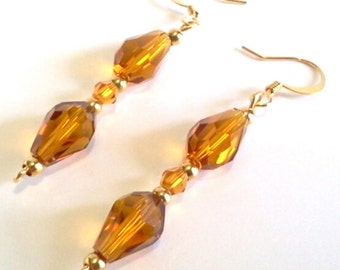 Amber Faceted Glass Teardrop Earrings, Crystal Beaded Jewelry, Citrine Colored Earrings, Handmade Beaded Evening Jewelry