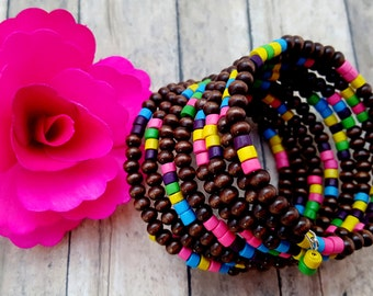 Chunky Bead Cuff, Rainbow Bracelet, Ethnic Jewelry, Memory Wire Bracelet, Cool Gifts for Her, Natural Jewelry, LGBT Bead Bracelet