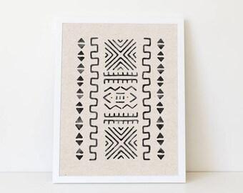 Instant Geometric Art, Mud cloth digital art, Tribal Printable, Large Printable Art, Aztec Print