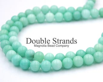"""Two 15"""" strands Green Amazonite Beads 8mm"""