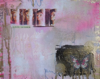 You Think You Know Me- square foot collage painting mixed media original artwork small art