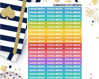 "60 ""Social Media"" Section Header Planner Stickers! SB354"