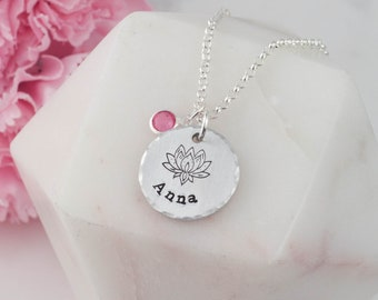 lotus name necklace, lotus necklace, name necklace, yoga necklace, lotus pendant, lotus jewelry, silver lotus pendant, lotus flower, lotus