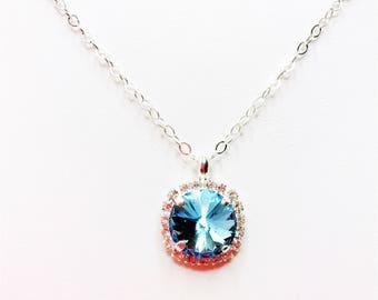 Blue Bridesmaid Giift Aquamarine Mother of the Bride Gift Swarovski Elements Blue Crystal Bridal Party Gift Aquamarine Wedding Jewellery