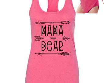 mama bear baby bear mom and baby matching shirts, mama bear tank, baby bear onesie PLEASE NOTE design color: white, black, or gold at chkout
