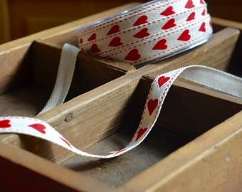 30 yard roll of natural cotton twill printed ribbon with hearts