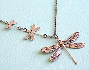 Silber Libelle Schmuck - Libelle Halskette, Natur