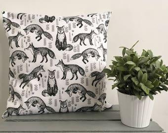 Monochrome Fox Print Cushion Cover