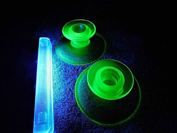 1930s Green Vaseline Uranium Depression Glass Candlesticks
