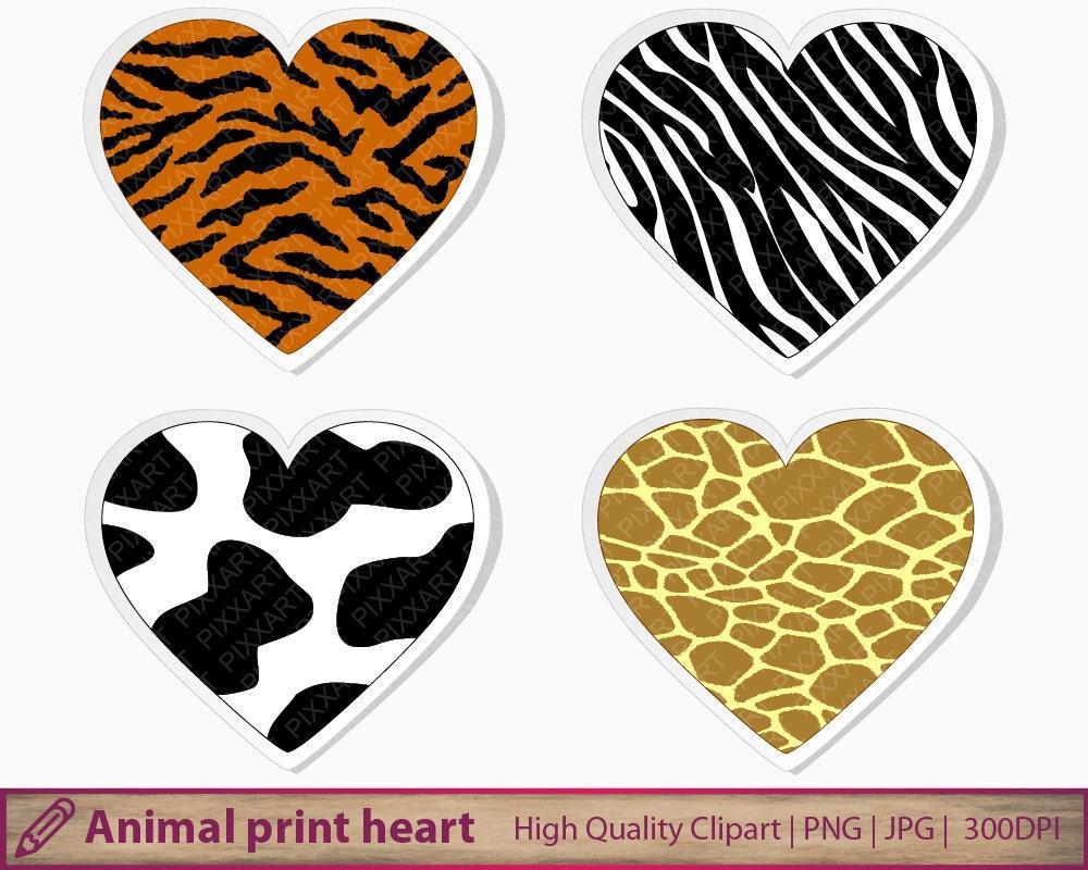 animal print heart clipart tiger cow giraffe zebra clip art rh etsy com animal print letters clip art animal footprint clip art