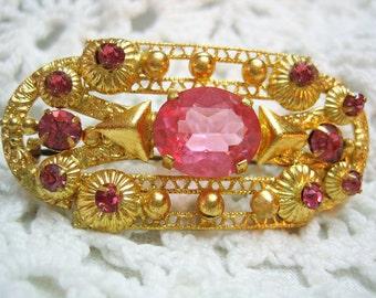 Vintage Old Pink Rhinestone Brooch Prong Set