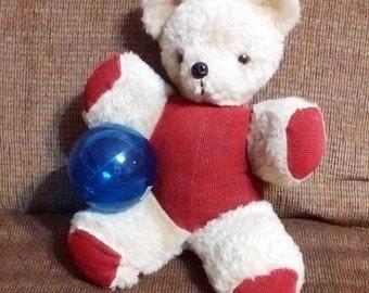 Old Teddy Bear, Well Loved Bear. Vintage Teddy Bear, Fuzzy Bear. Stuffed Teddy Bear, Distressed Fur Teddy Bear. Red & Beige Stuffed Bear.
