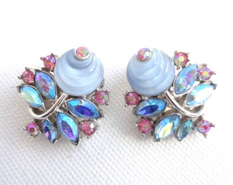 Crown Trifari Shoe Button Alfred Philippe Designed Vintage Clip Back Earrings - Stunning Colors & Design - Fruit Salad Molded Glass Earrings